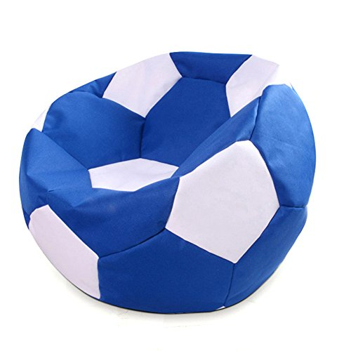 Ehonestbuy Soccer Ball Kids' Bean Bag Chair Cover, Colorful Max Fabric Stuffed Animal Bags Toy Organizer for Kids Bedroom, Storage Solution for Plush Toys, Towels & Clothe, 27.5 Inches (Blue White) by Ehonestbuy