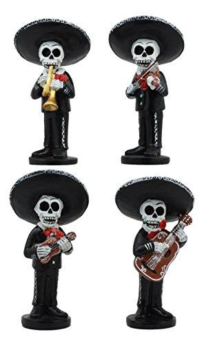 Ebros 4 Tall Fiesta Squad Day Of The Dead Skeleton Mariachi Band Statue Set of 4 Violin Guitarron Guitar And Trumpet Player Dias De Muertos Figurine Decor Set Or As Wedding Cake Toppers