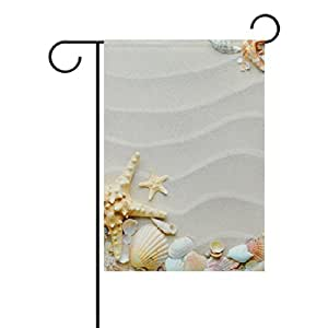 jstel casa playa con estrella de mar y conchas poliéster tela jardín banderas Lovely y resistente al moho Custom de resistente al agua 12x 18inch
