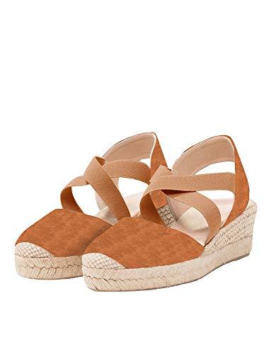 Nailyhome Womens Espadrilles Platform Wedge Sandals Elastic Crisscross Strappy Closed Toe Mid Heel Sandals Brown