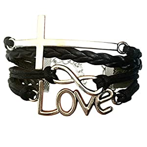 LOVE and CROSS Jesus bracelet – Christian religion bracelet. Women and Girls Christian Gift, Christian Youth or teacher…