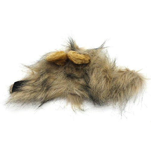Lion Manes Costumes (DDLBiz Cute Furry Pet Hat Costume Lion Mane Wig With Ears For Cat Small Dog Dress Up Party (Gray))