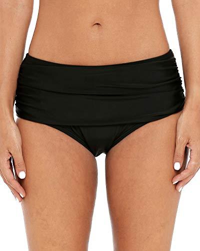 Sociala Womens Shirred Bikini Brief Tummy Control Swim Bottoms Tankini Bottoms M