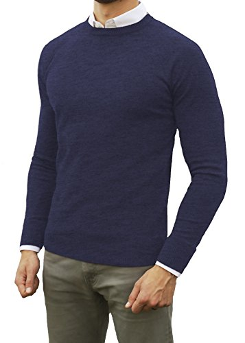 Cashmere Ribbed Crewneck Sweater - Comfortably Collared Men's Perfect Slim Fit Lightweight Soft Fitted Crew Neck Pullover Sweater, Extra Large, Navy Blue
