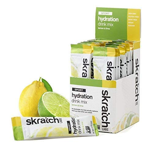 SKRATCH LABS Sport Hydration Drink Mix, Lemon Lime 20 single serving packets – Natural, Electrolyte Powder Developed for Athletes and Sports Performance, Gluten Free, Vegan, Kosher