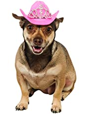 Rubies Costume Co Pink Cowgirl Dog Hat with Tiara, Medium/Large