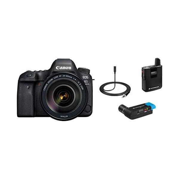 RetinaPix Canon EOS 6D Mark II 26.2MP Digital SLR Camera with EF24-105 mm f/4L is II USM Lens + Sennheiser AVX-MKE2 SET-3-EU Digital Wireless Microphone System