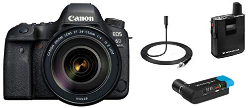Canon EOS 6D Mark II 26.2MP Digital SLR Camera with EF24-105 mm f/4L is II USM Lens + Sennheiser AVX-MKE2 SET-3-EU Digital Wireless Microphone System