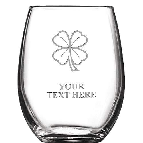 4 Leaf Clover Personalized Wine Glass - 9 oz Custom Soiree Stemless Shamrock Wine Glass Gift Prime