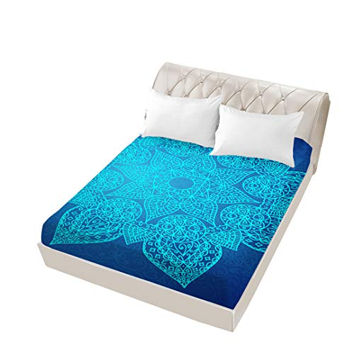 Mandala Fitted Sheet Queen Size 3D Dye Microfiber Bed Fitted Sheet Queen Deep Pocket Sheet 1 Piece Home Decor