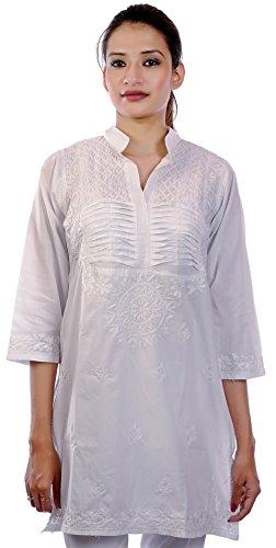 Women Tunic Top Cotton White Embroidery Indian Ethnic kurti kurta with (Indian Cotton Shirt)