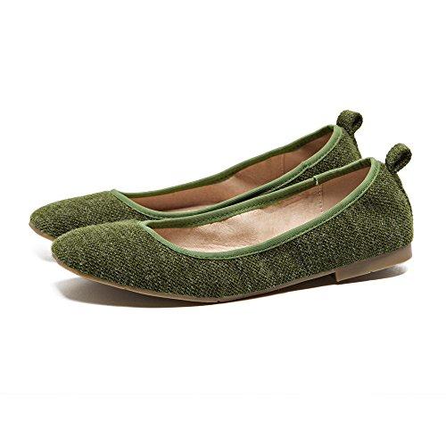 de verde Bajos Qiqi Femenina Xue Malla Planos Zapatos la Zapatos Individuales Conjunto Zapatos Corte Confort de con Baja Negro 36 Redondos Zapatos Boca HFqFwBT