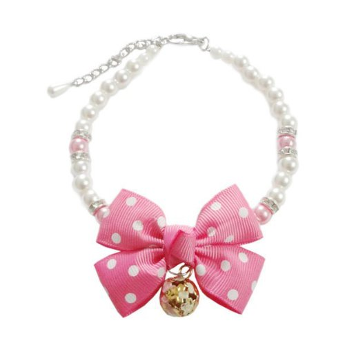 Little Bow Bell Necklace With Rhinestone Pet Dog Cat Collar