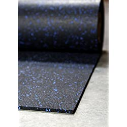 "IncStores 1/4"" Tough Rubber Roll (Blue Fleck, 4' x 10') - Excellent gym floor mats for medium/large equipment and light/moderate free weights"