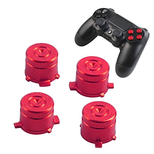 PS4 Bullet Buttons Aluminum Custom Metal Playstation 4 DualShock 4 Replacement Standard Buttons Spare Parts Accessories for Modded PS4 Controllers Bullet Red