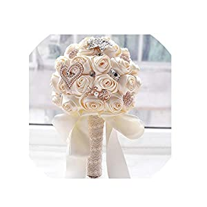 WodCht Beautiful Stunning Wedding Flowers White Bridesmaid Bridal Bouquets Artificial Rose Wedding Bouquet 36