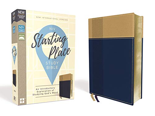 Niv, Starting Place Study Bible, Leathersoft, Blue/Tan, Comfort Print: An Introductory Exploration of Studying God's Word