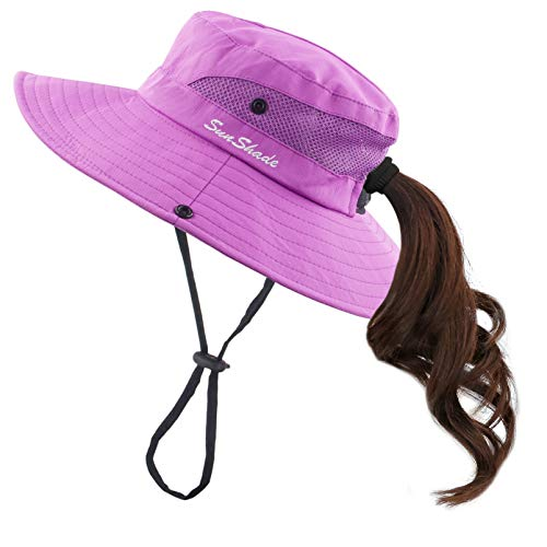 Muryobao Women Ponytail Summer Sun Hat Wide Brim UV Hats Floppy Bucket Cap for Safari Beach Fishing Gardening Pure Purple - Large Bucket Brim