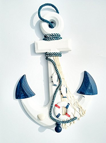 "Wooden Anchor Decor, 13"" Wall Anchor Ornament, Funway Home Nautical Pirate anchor, Mediterranean Style, White & Blue"