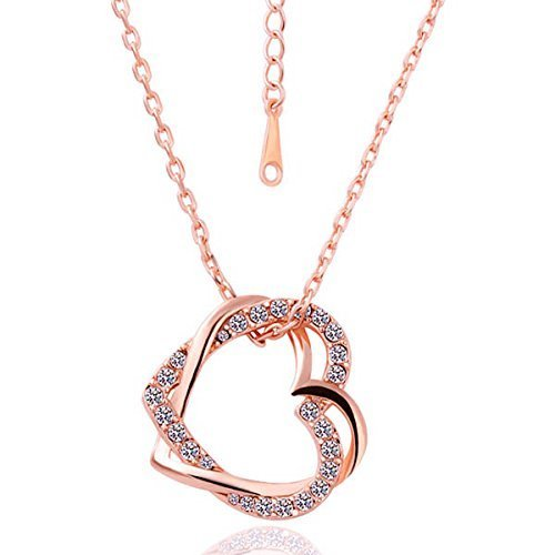 - NiceButy Fashion Embracing Hearts-in-Love 18K Rose Gold Plated Austrian Crystal Pendant Necklace for Girls/Women(Golden)(rrsd5930np)