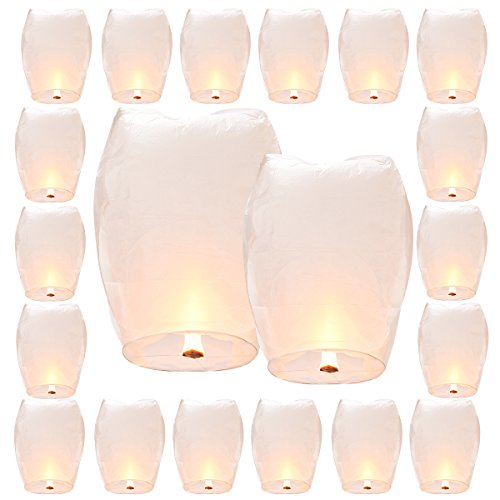Getien 20 Sets Chinese Sky Lanterns Wishing Lanterns, 100% Biodegradable And Fully Assambeled(White)