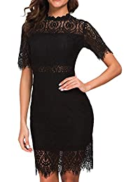 Women's Elegant High Neck Short Sleeves Lace Cocktail Party Dress