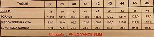 Philo Vance Camicia Uomo Casual 41 M Button Down Celeste Chiaro Rifiniture Blu Jeans Ledro