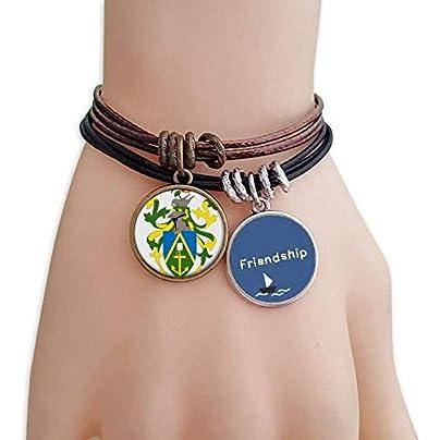 YMNW Pitcairn Islands Oceania National Emblem Friendship Bracelet Leather Rope Wristband Couple Set Estimated Price -