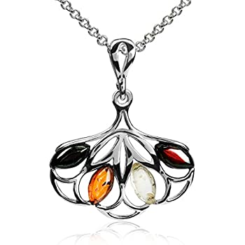 Multicolor Amber Sterling Silver Flower Pendant Necklace Chain 18 Ian and Valeri Co