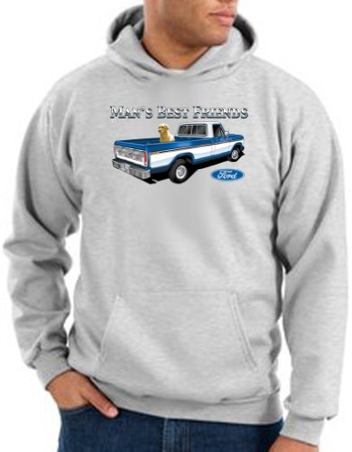 (Ford MAN'S BEST FRIEND Classic Muscle Car Adult Hooded Pullover Sweatshirt Hoody Hoodie - Ash, 2XL)