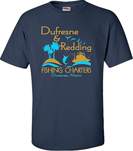 Go All Out XX-Large Navy Blue Adult Dufresne & Redding Fishing Charters Funny T-Shirt