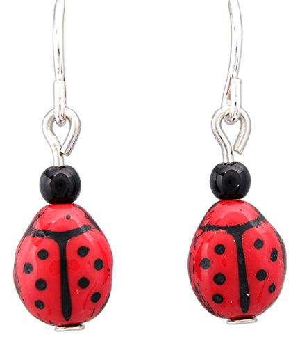 (Sienna Sky Hypo-Allergenic Animal Sterling Silver Plated French Hook Ear Wire (Ladybugs))