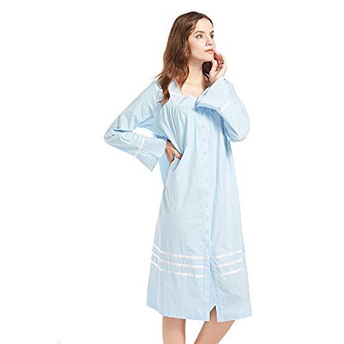 Front Long Sleeved (Poseca Nightgown Women Bell Sleeve Pajama Button Down Sleepwear Full Long Slip Dress - Blue - XL)