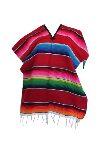 Serape Costumes (Del Mex Youth Mexican Serape Poncho Child Costume Pancho Red)