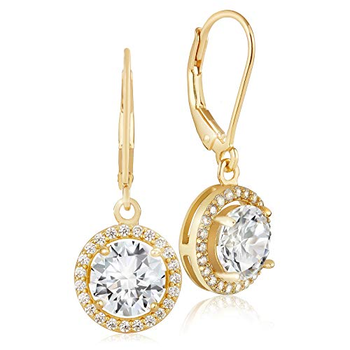 Lusoro 925 Sterling Silver Gold Plated Round AAA Cubic Zirconia Halo Leverback Dangle Earrings