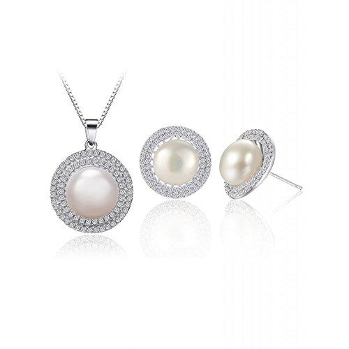 Murtoo Parure perles Bijoux Femme Collier + Boucle d oreille en Plaqué Argente 925