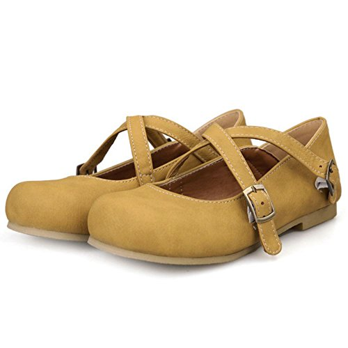 Yellow Casual Girls Pumps Dress KemeKiss Flat Criss Shoes Walking Cross PzWqH