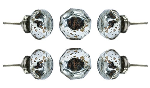 Set of 6 Dorsoduro Mirror Glass Cabinet Drawer Knobs Premium Quality Cupboard Dresser Door Pull Decorative Furniture Hardware by Trinca-Ferro