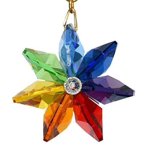 J'Leen Dark Rainbow Daisy Ornament with Austrian Crystal