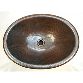 SimplyCopper 19 Oval Copper Bathroom Sink Undermount or Drop