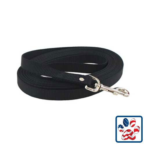 3/4 Nylon Web Lead - Auburn Nylon Web Training Lead 0.75in x 30ft BLACK