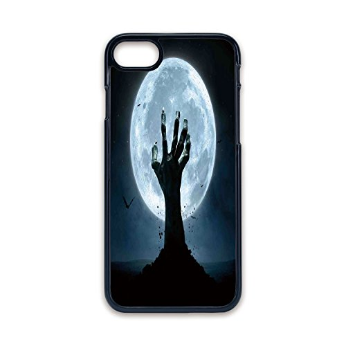 Phone Case Compatible with iPhone7 iPhone8 Black Edge Fashion Personality,Halloween Decorations,Zombie Earth Soil Full Moon Bat Horror Story October Twilight Themed,Blue Black,Hard Plastic Phone -