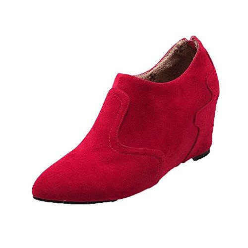 Pumper sko Voguezone009 Tå Semsket Kattunge Pekte Kvinners Glidelås Hæler Solid Røde Aa8wAz