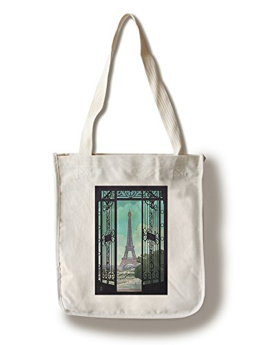Lantern Press Paris, France - Eiffel Tower and Gate Lithograph Style (100% Cotton Tote Bag - Reusable)
