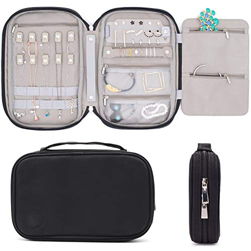 storageLAB Travel Jewelry Organizer, Faux Leather Clutch Bag for Necklaces, Earrings, Rings and Bracelets (Black)