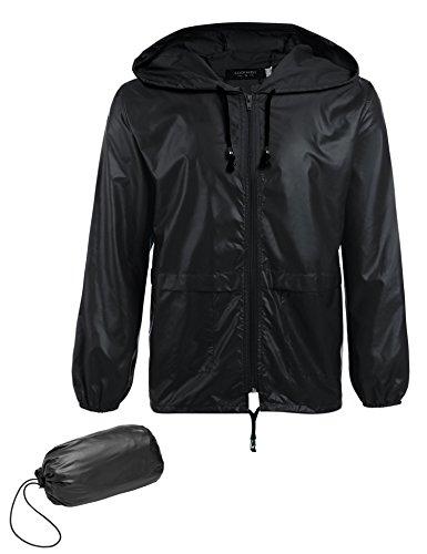 COOFANDY Men's Packable Rain Jacket Outdoor Waterproof Hooded Lightweight Classic Cycling Raincoat Black