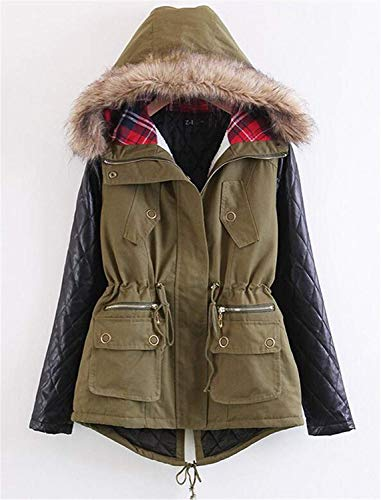 Front Jacket Mode Coat Jacket Adelina Winter Long Zipper Women's Fashion Armygreen Leather Sleeve Splice Modern Jacket Pockets with Quilted Outerwear Hooded Style CYwYxAfq0