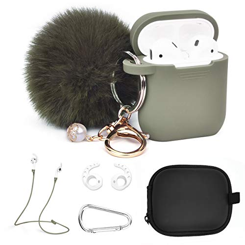 V-MORO Compatible with Airpods Case Protective Silicone Cover with 6 in 1 Airpod Accessories Earhooks/Fur Ball Keychain/Straps/Storage Travel Box for Apple Airpods Women Men (Olive) ()