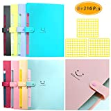 Fyess 8 PCS + 216 PCS Expanding File Folder Accordian File Organizer with 5 Pockets Plastic Document Organizer Accordian Folder Organizer File Folder Labels