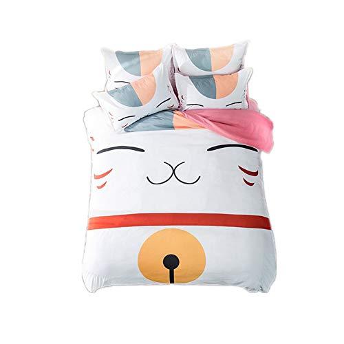 Judy Dre am Home Textiles Anime Natsume's Book of Friends Bedding Sets Cartoon Cat Duvet Cover Set 4pcs Full Size